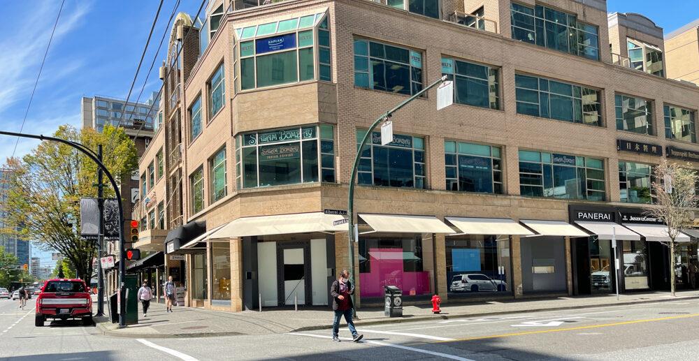 Former Hermès on Alberni Street at Burrard Street in Vancouver (June 2021)