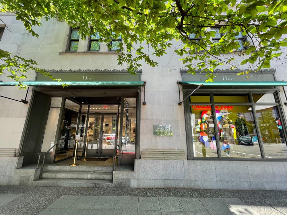 Dior exterior at Fairmont Hotel Vancouver (June 2021)