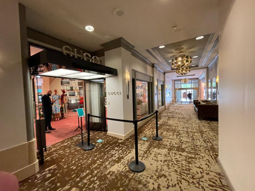GUCCI interior entrance at Fairmont Hotel Vancouver (June 2021)