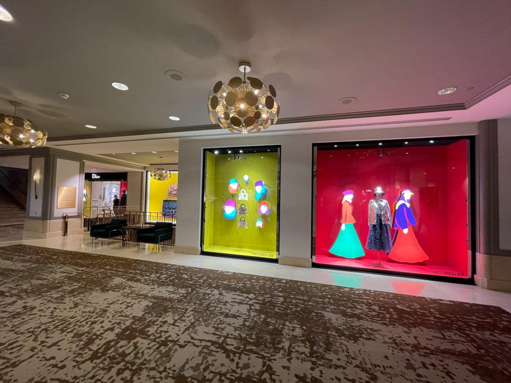 Dior interior window displays at Fairmont Hotel Vancouver (June 2021)
