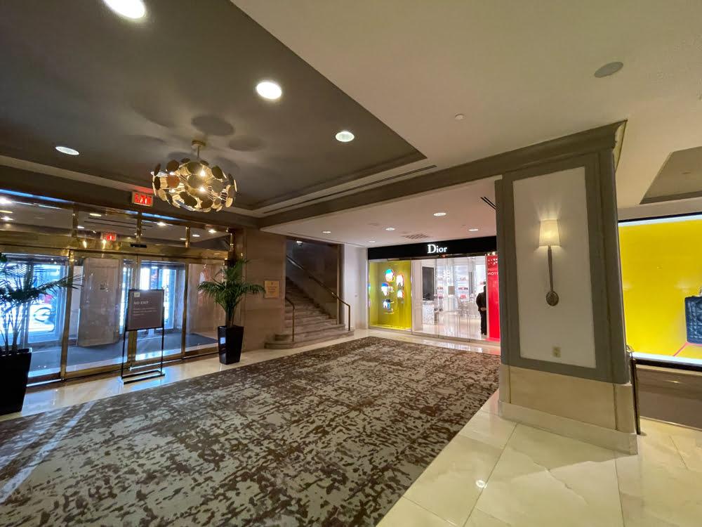 Dior interior entrance at Fairmont Hotel Vancouver (June 2021)