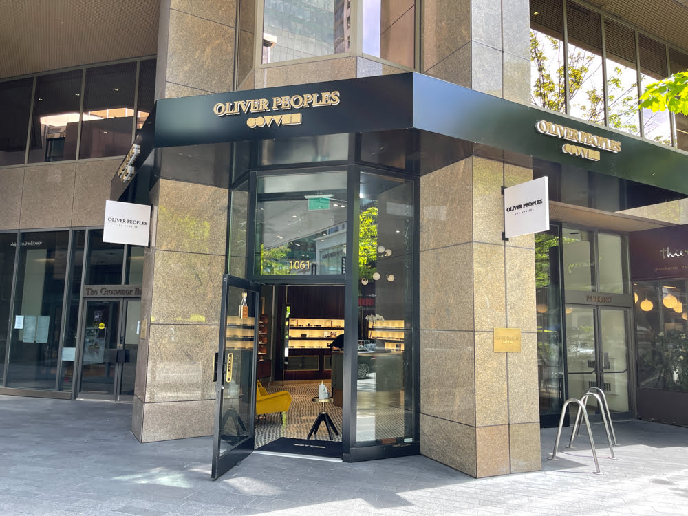 Oliver Peoples on Alberni Street in Vancouver (June 2021)