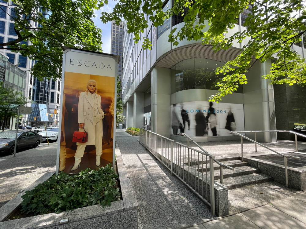 Former Escada location on Alberni Street at Thurlow Street in Vancouver (June 2021)