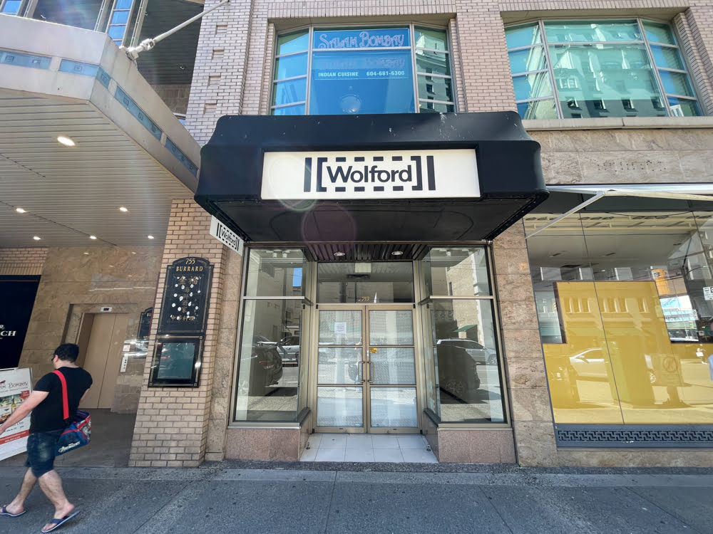 Former Wolford location on Burrard Street just off Alberni Street in Vancouver (June 2021).