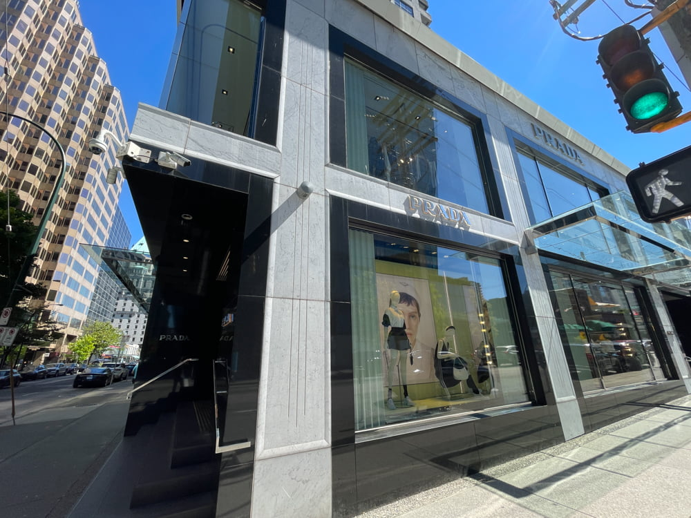 Prada on Thurlow Street at Alberni Street in Vancouver (June 2021)