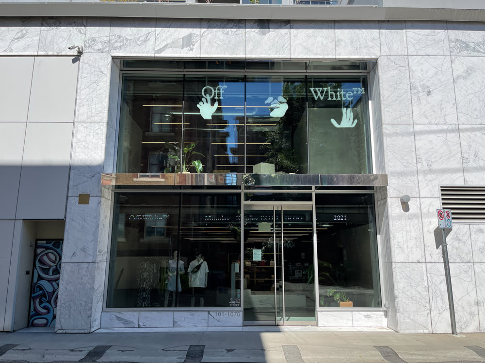 Off-White on Thurlow Street at Alberni Street in Vancouver (June 2021)