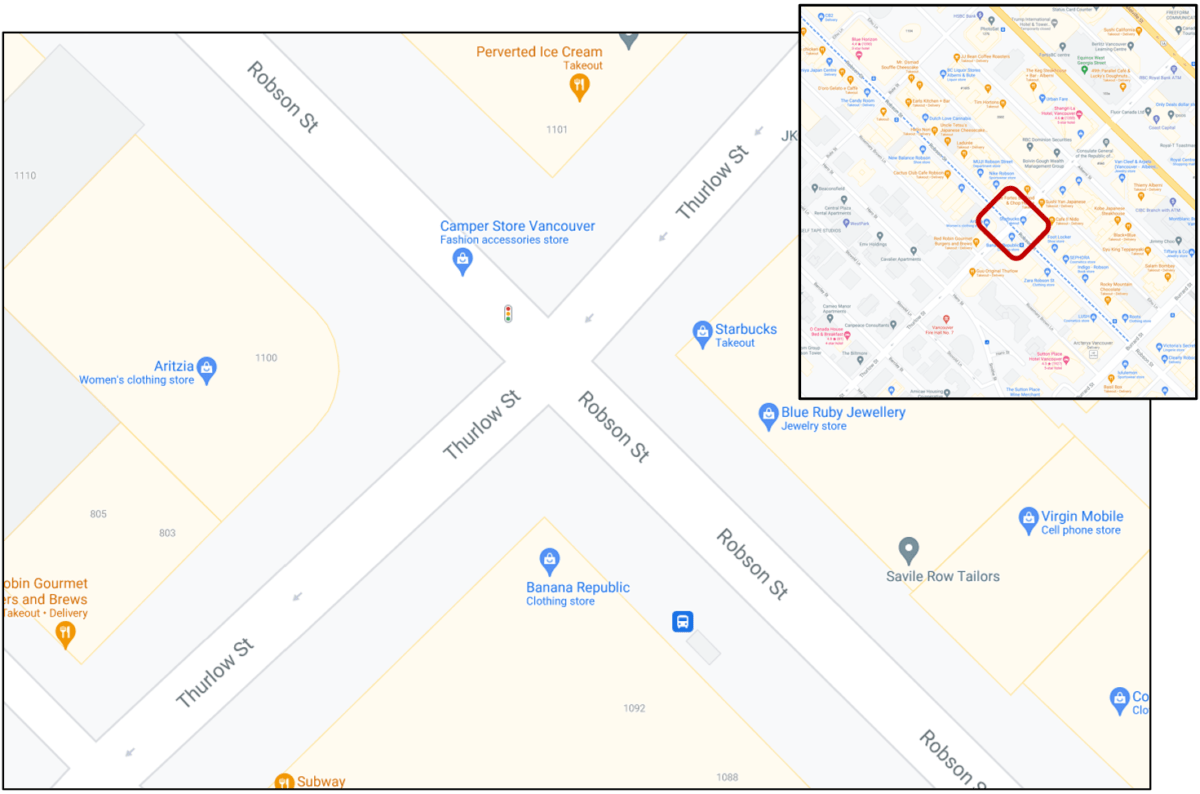 Robson Street and Thurlow Street intersection in Vancouver