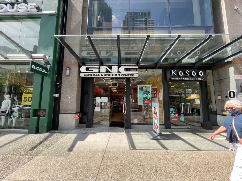 GNC on Robson Street in Vancouver (June 2021)