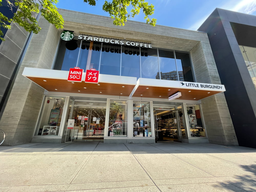 Miniso and Little Burgundy on Robson Street (June 2021)