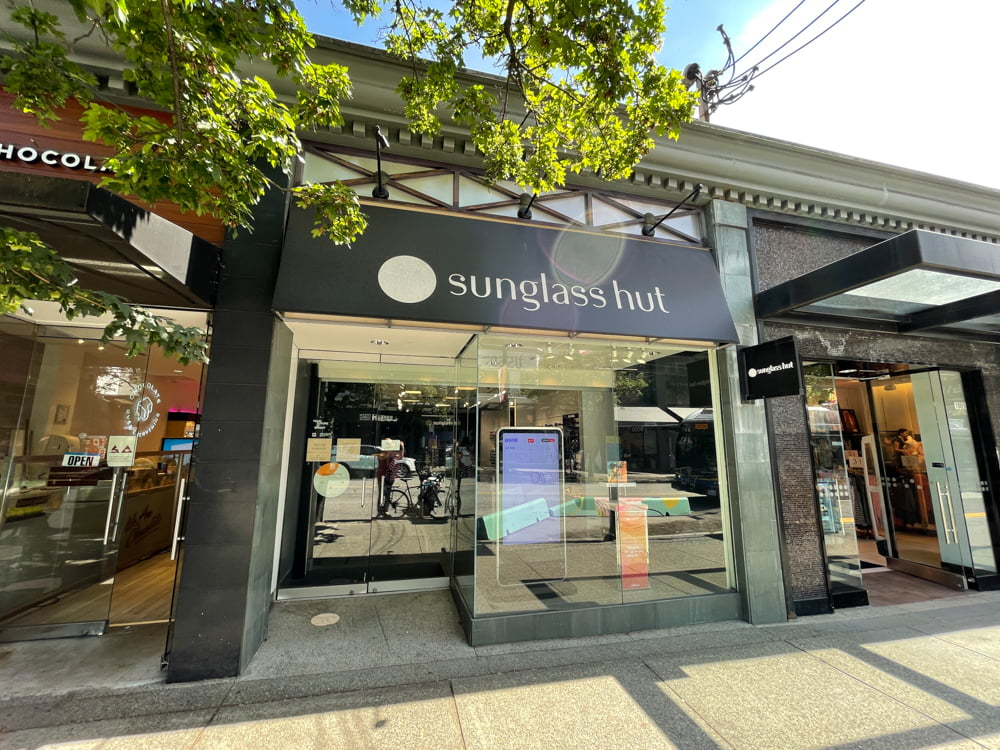 Sunglass Hut on Robson Street in Vancouver
