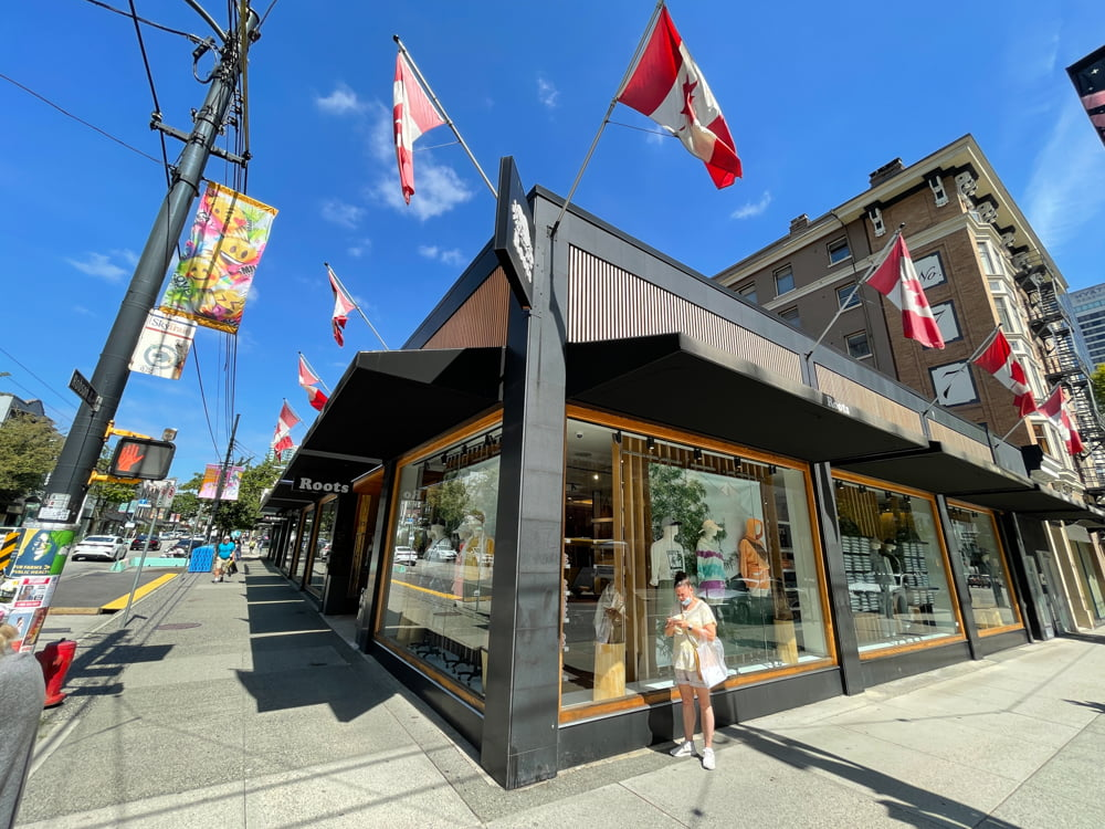Roots on Robson Street in Vancouver (June 2021)
