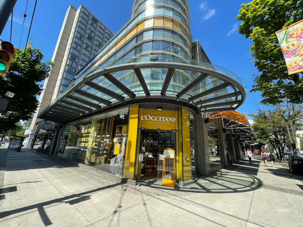 L'Occitaine on Robson Street in Vancouver (June 2021)