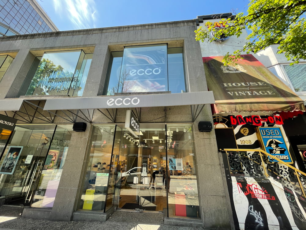 Ecco Shoes on Robson Street in Vancouver
