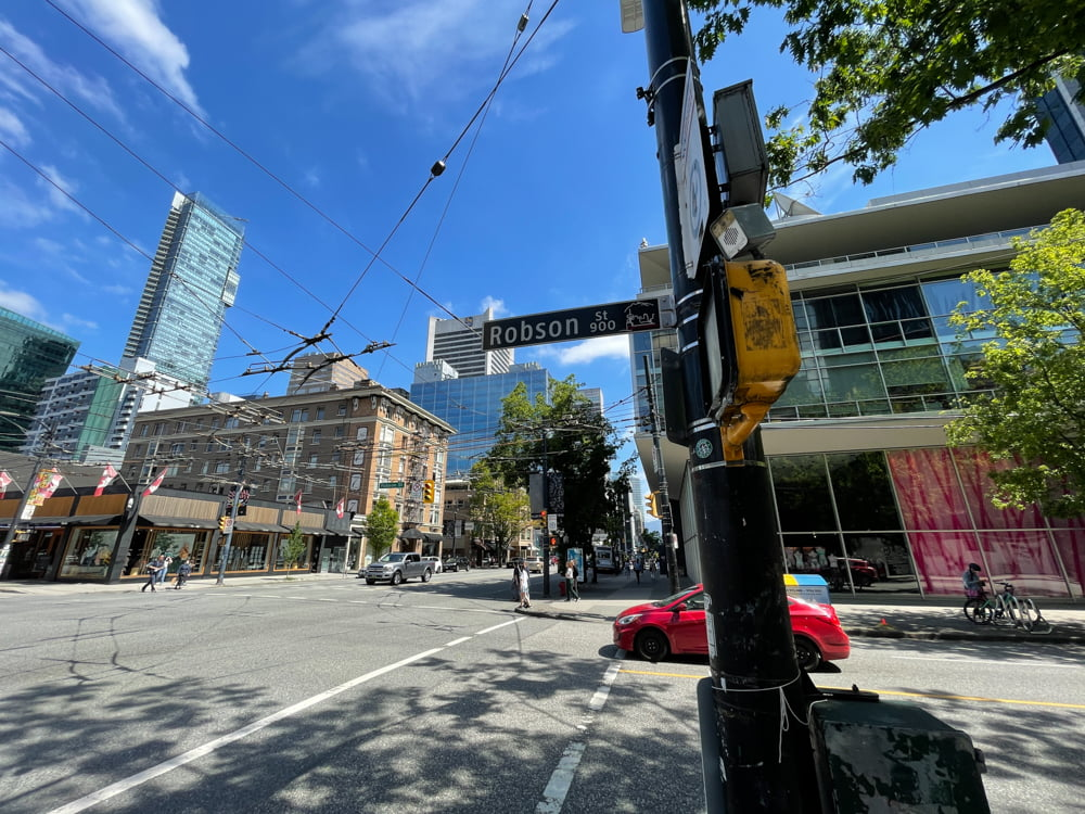 Intersection of Robson and Burrard (June 2021)