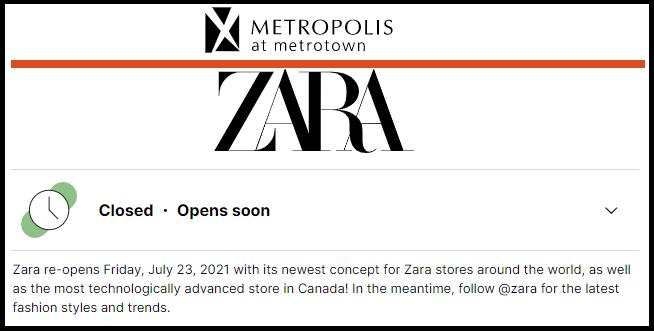 Metropolis at Metrotown website (July 23, 2021) announcing Zara reopening.