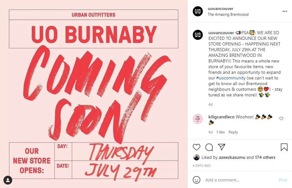 Urban Outfitters Opening Announcement on Instagram