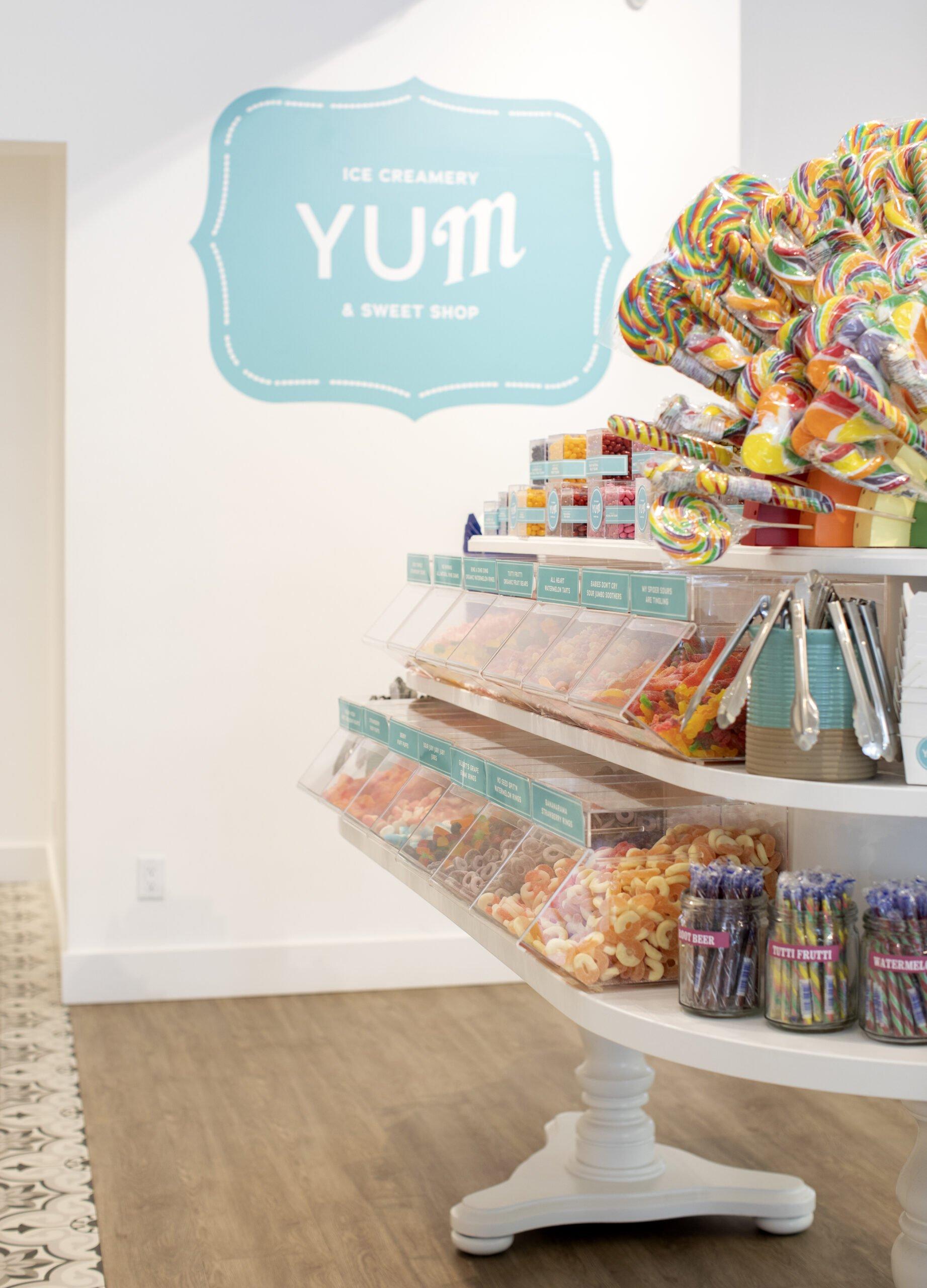 Interior of YUM Ice Creamery and Sweet Shop.