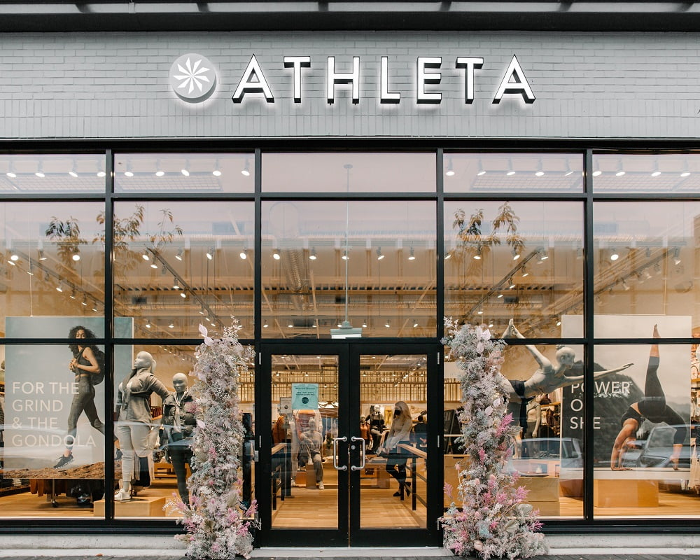 Main entrance of Athleta at Park Royal Shopping Centre in West Vancouver, BC.