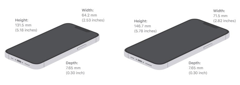 """""""iPhone 13 mini"""" and """"iPhone 13"""" dimensions"""
