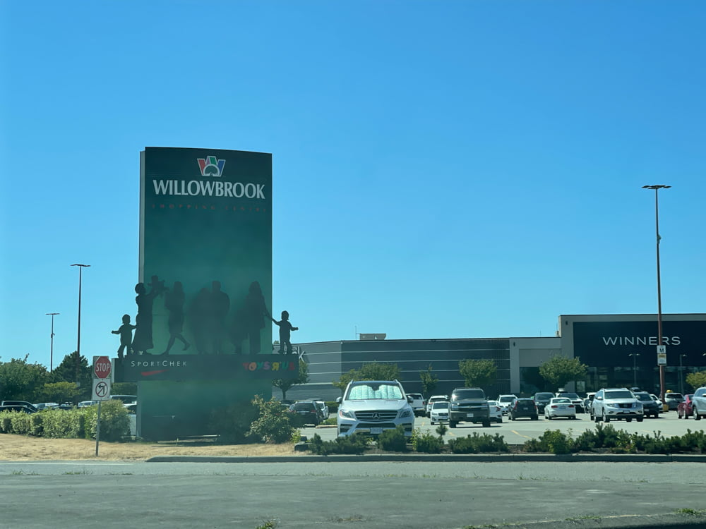 Willowbrook Shopping Centre entrance signage (July 2021)