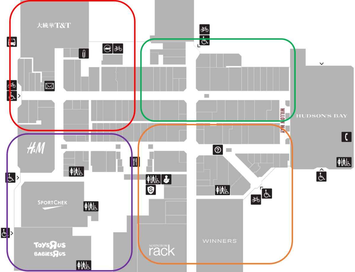 Tour Zones for Willowbrook Mall