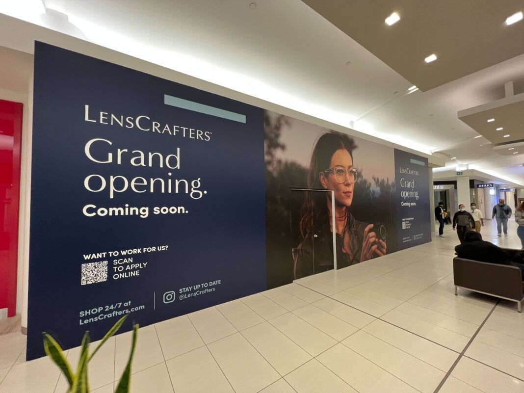 LensCrafters construction signage at Park Royal Shopping Centre (October 2021)